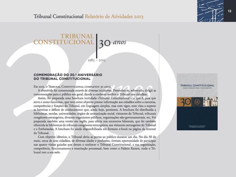 Tribunal Constitucional - Relatório de Atividades 2012 e 2013